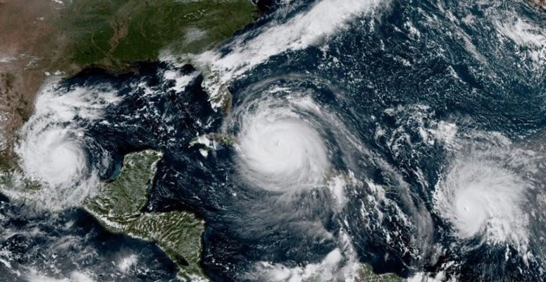 Three hurricanes during 2017 captured by GOES-16