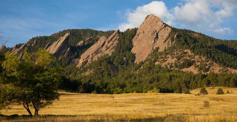 A view of the Flatirons in Boulder, Colorado