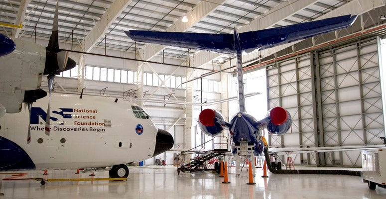 A picture of our research aircraft inside the hangar, one of the facilities managed by UCAR Operations