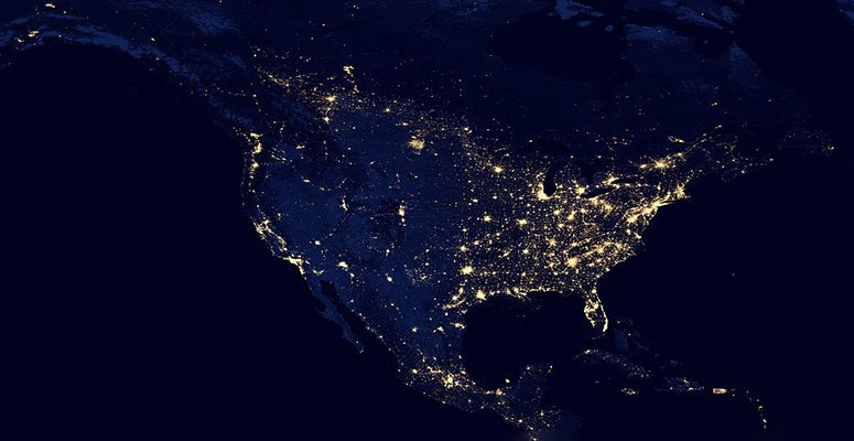North America from satellite at night, courtesy NASA