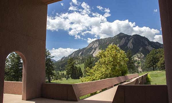A view of the flatirons from the Mesa Lab